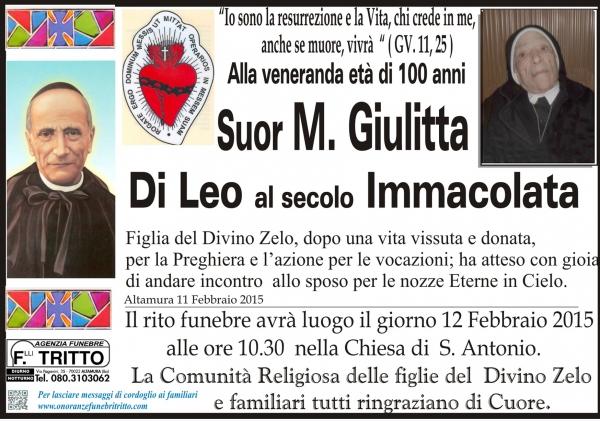 Suor Giulitta Di Leo al secolo Immacolata