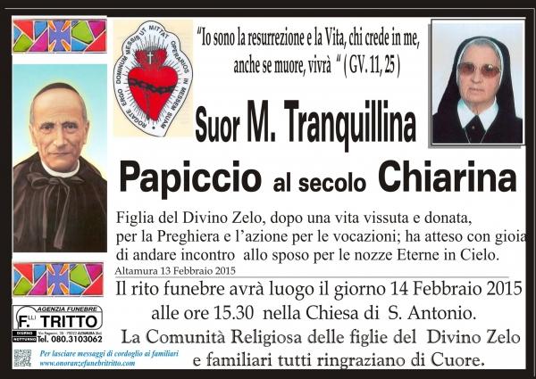 SUOR M. TRANQUILLINA PAPICCIO al secolo CHIARINA
