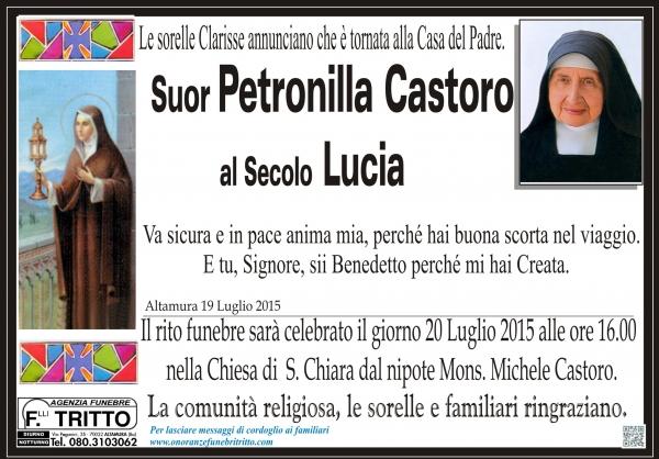 Suor PETRONILLA CASTORO al secolo LUCIA