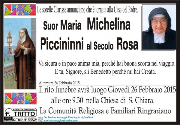 Suor M. MICHELINA PICCININNI al secolo ROSA